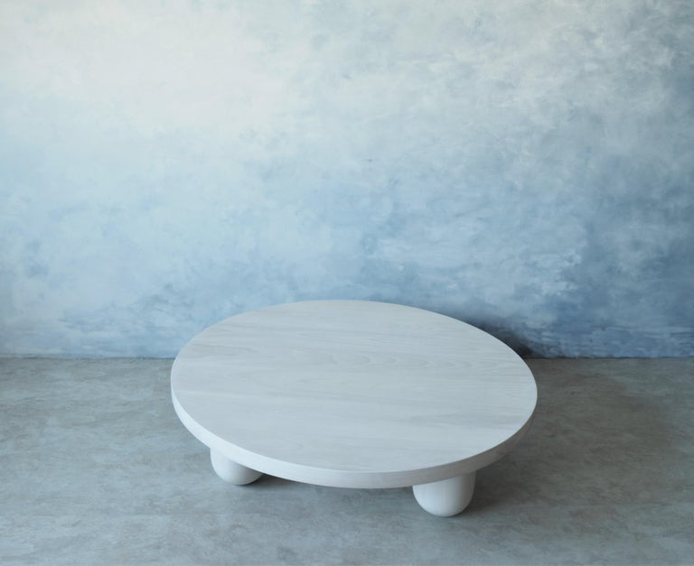 North American Low Round Beech White Column Coffee Table by MSJ Furniture Studio For Sale