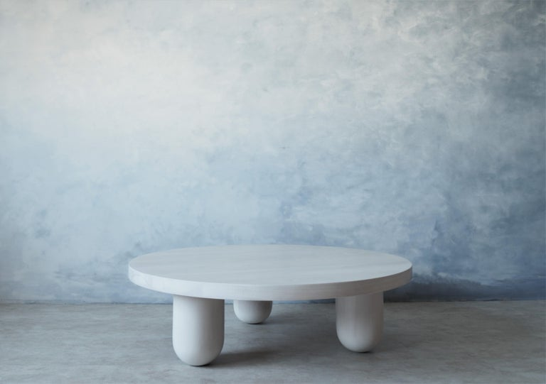 Low Round Beech White Column Coffee Table by MSJ Furniture Studio In New Condition For Sale In Vancouver, BC