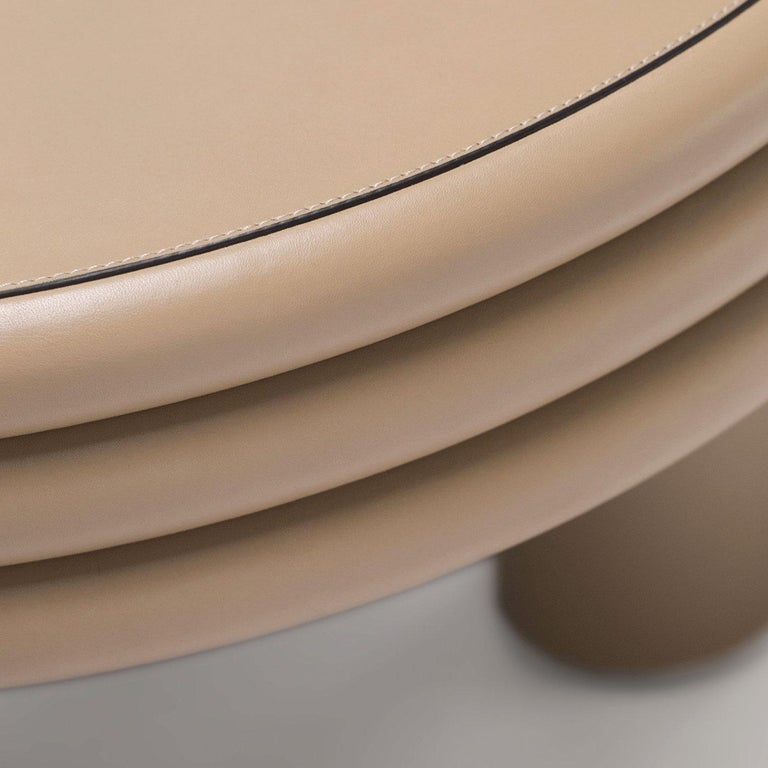 Modern Low Round Leather Coffee Table Scala by Stephane Parmentier for Giobagnara For Sale