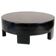 Low Round Table, Black Lacquer by Robert Kuo, Limited Edition