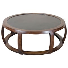 Low Round Table, Ebony and Black Lacquer by Robert Kuo, Handmade, One of a Kind