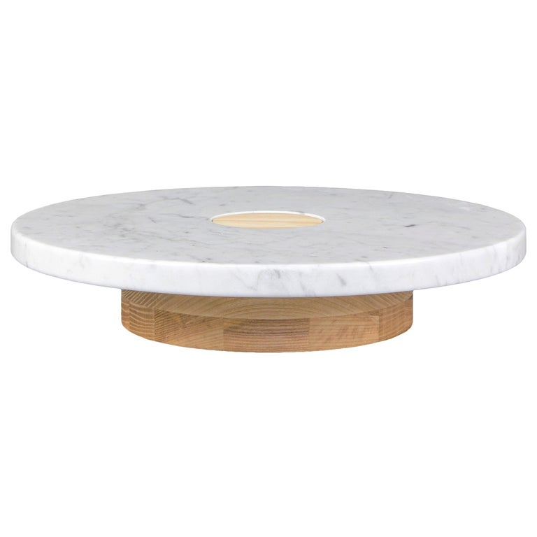Low Sass Pedestal from Souda, Carrara Marble Top, in Stock For Sale