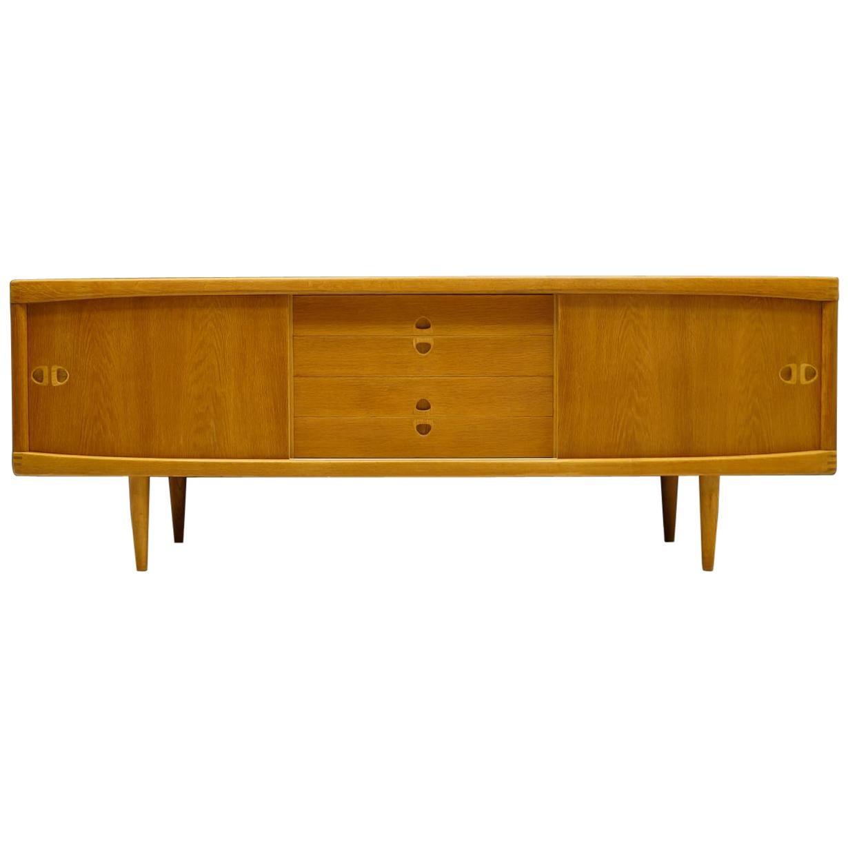 Low Scandinavian Oak Sideboard by H. W. Klein for Bramin, 1960s