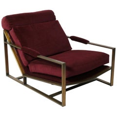 Low Slung Milo Baughman Lounge Chair in Bronze Finish