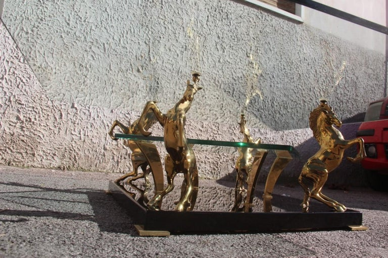 Low Square Glass Coffee Table and 24 Karat Golden Brass Horses Italian Design For Sale 4