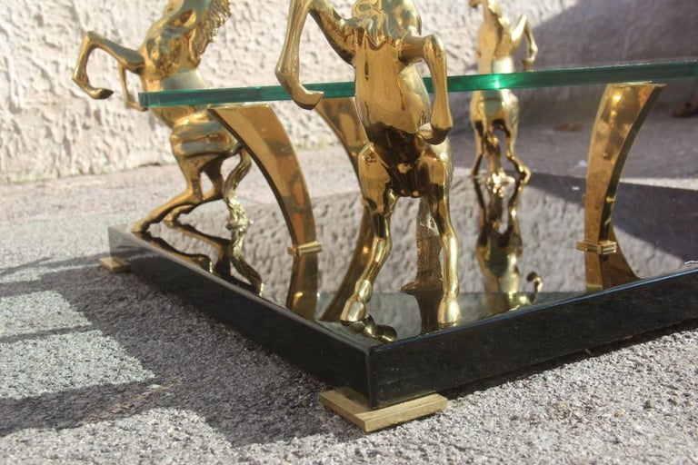Low Square Glass Coffee Table and 24 Karat Golden Brass Horses Italian Design For Sale 6
