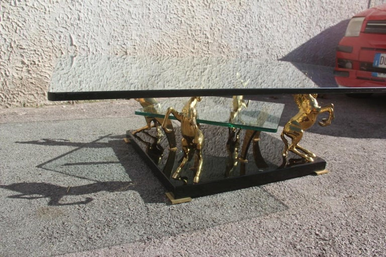 Low Square Glass Coffee Table and 24 Karat Golden Brass Horses Italian Design For Sale 14