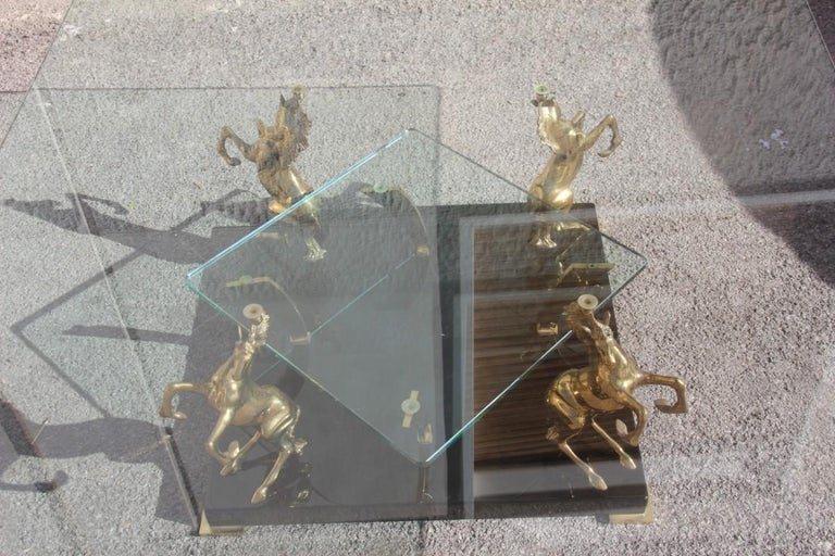 Low Square Glass Coffee Table and 24 Karat Golden Brass Horses Italian Design For Sale 1