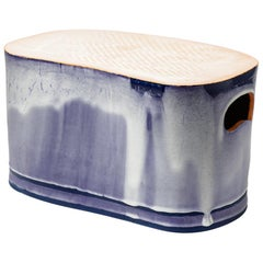 Low Stoneware Ceramic Stool Blue and White Glazes Colors by Morin French Design