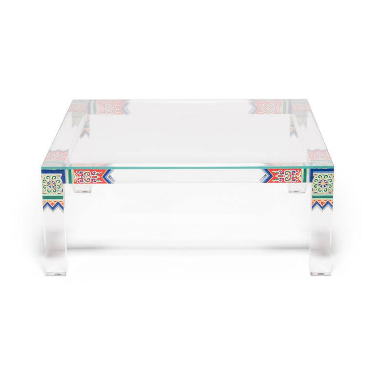 Each limited-edition Summer Palace low table by artist July Zhou is fashioned after a traditional Ming dynasty example. Unlike other Lucite furniture that is injection molded, July's work is created by skilled artisans who heat, join, bend, carve,