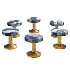 Low Swivel Barstools in Brass and Fabric