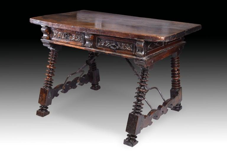 Baroque Low Table 'Estrado Table', Walnut, Wrought Iron, Spain, 17th Century For Sale