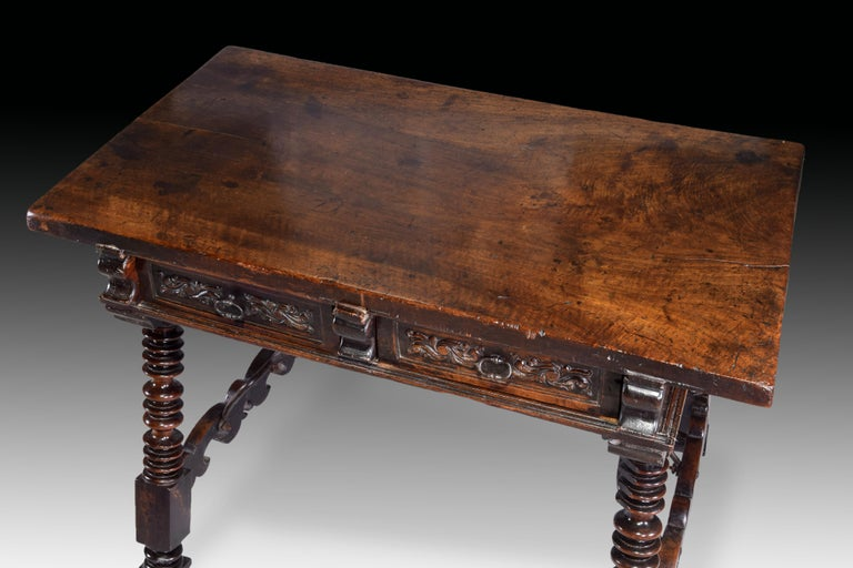 Low Table 'Estrado Table', Walnut, Wrought Iron, Spain, 17th Century For Sale 2