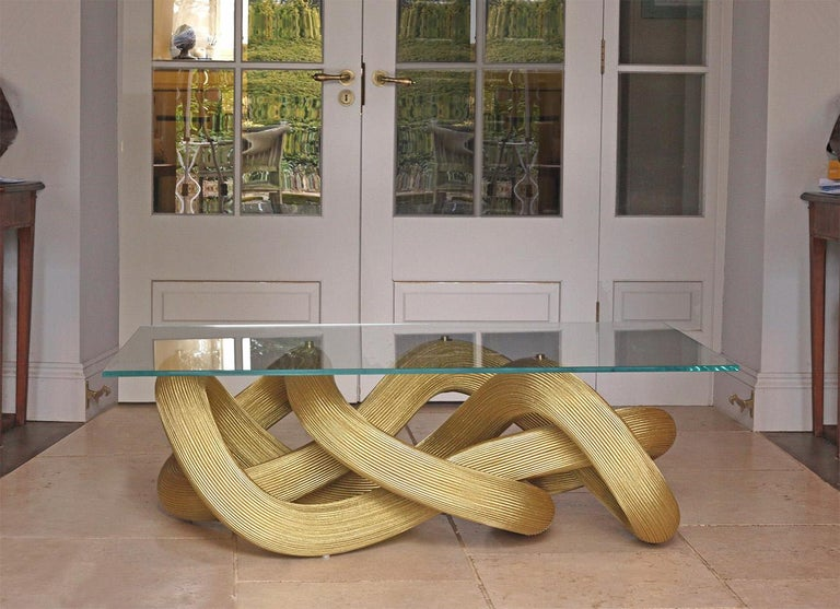 British Low Coffee Table in Brass Wire, Flux by Jake Phipps For Sale