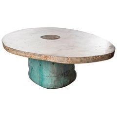Low Table in Ceramic with Concrete Top by Hun-Chung Lee