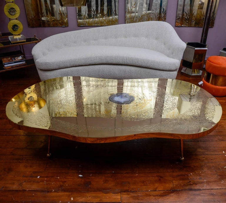 Modern Low Table in Engraved Brass and Agate Stone For Sale