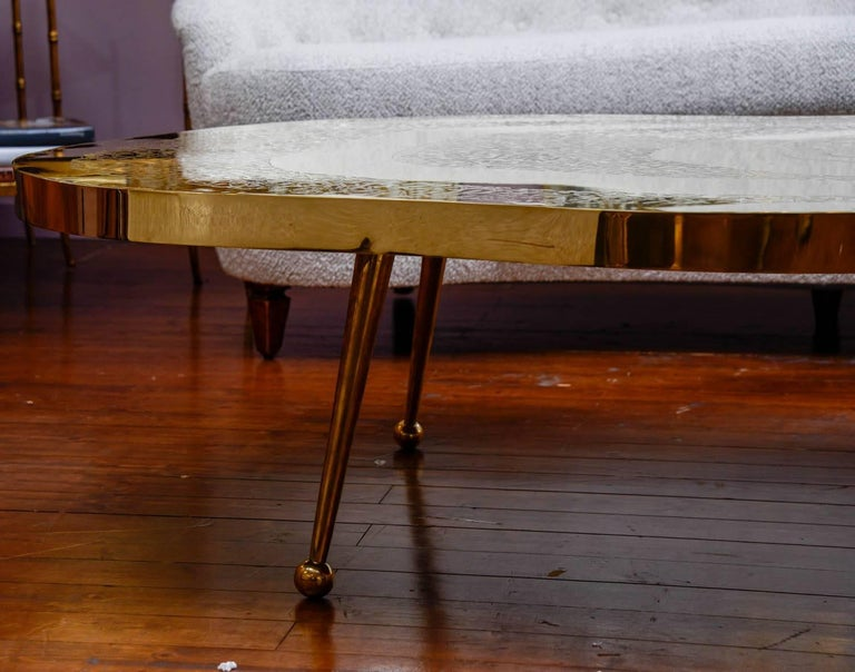 Low Table in Engraved Brass and Agate Stone In Excellent Condition For Sale In Saint-Ouen (PARIS), FR