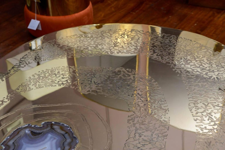 Contemporary Low Table in Engraved Brass and Agate Stone For Sale