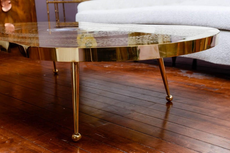 Low Table in Engraved Brass and Agate Stone For Sale 2
