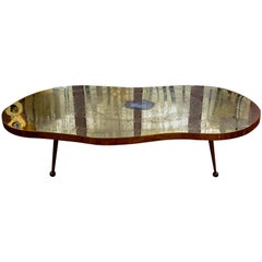 Low Table in Engraved Brass and Agate Stone