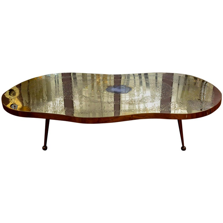 Low Table in Engraved Brass and Agate Stone For Sale