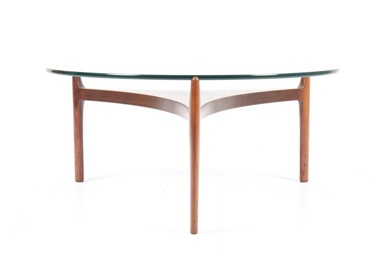 Low table - Rosewood frame with a top in glass - Designed by Svend Ellekær and made by Christian Linnebjerg Denmark in the 1960s - great condition.