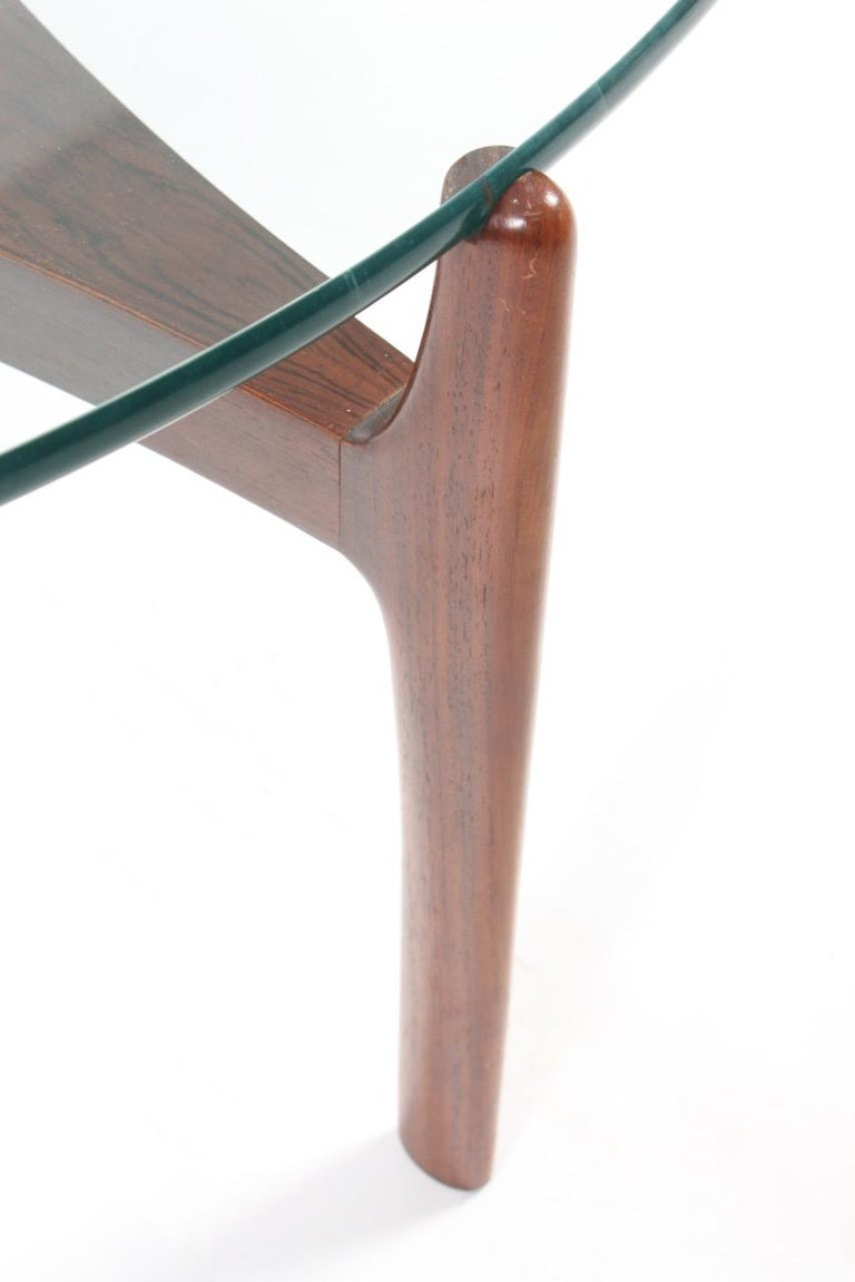 Scandinavian Modern Low Table in Rosewood with Glass Top For Sale