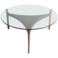 Low Table in Rosewood with Glass Top