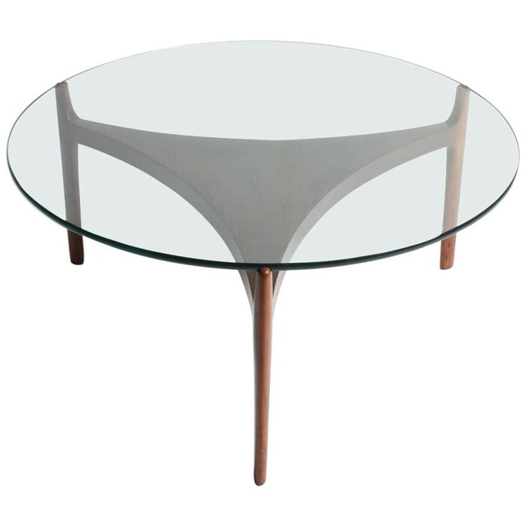 Low Table in Rosewood with Glass Top For Sale