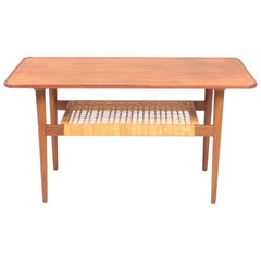 Low Table in Teak and Cane Danish Modern, 1950s