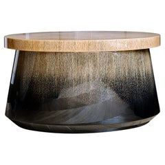 Low Table Temple in Degraded Light Oak in Ink and Glossy Varnish