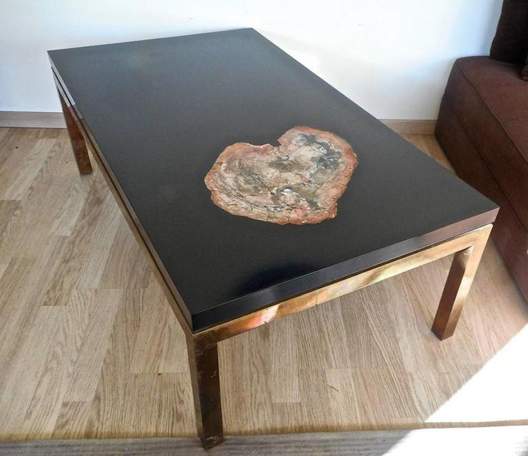 Mid-Century Modern Low Table with a Petrified Wood Inlay by Philippe Barbier,France, 1970 For Sale