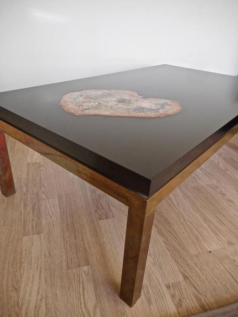 French Low Table with a Petrified Wood Inlay by Philippe Barbier,France, 1970 For Sale
