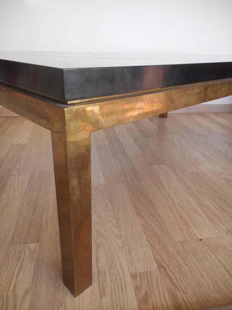 Lacquered Low Table with a Petrified Wood Inlay by Philippe Barbier,France, 1970 For Sale