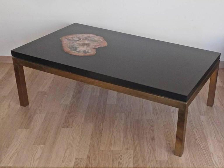 Late 20th Century Low Table with a Petrified Wood Inlay by Philippe Barbier,France, 1970 For Sale