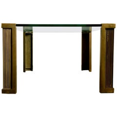 Low Table with Brass Supports by Peter Ghyczy, Early Production Model T14, 1970s