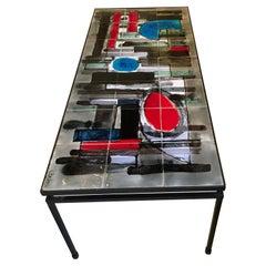 Low Table with Ceramic Tiles Signed Belarti, Belgium, 1960