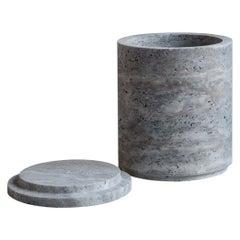Low Travertino Silver Vases