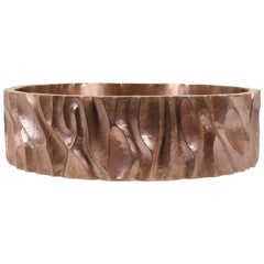 Low Tree Trunk Cachepot, Antique Copper by Robert Kuo, Limited Edition