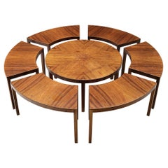 Round Walnut Coffee Table in Parts, circa 1970