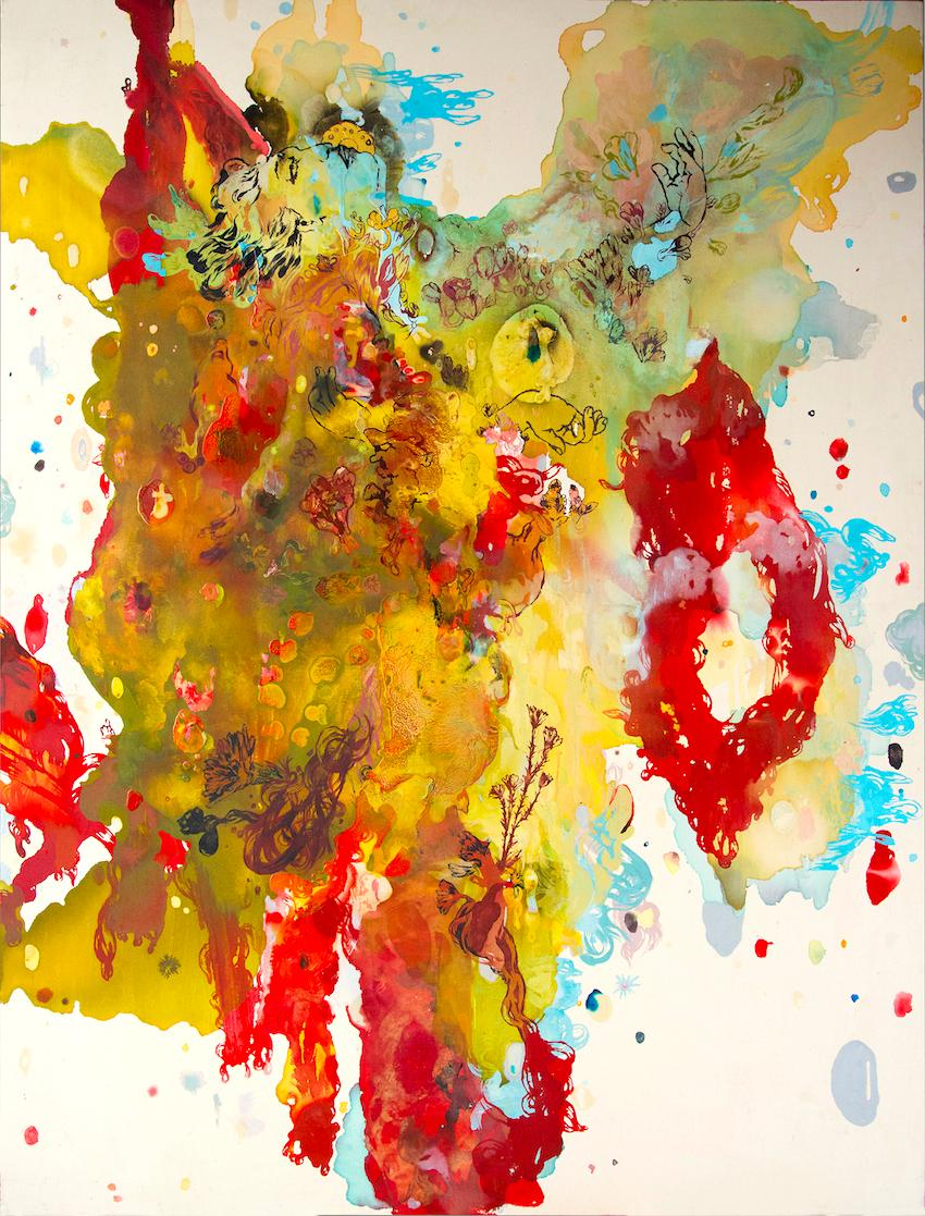 """""""Gesture of Apparent Movement,"""" Acrylic Paint, Resin, Ink & Watercolor on Canvas"""