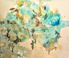 """""""Sky Scape,"""" Acrylic Paint, Resin, Ink and Watercolor on Canvas"""