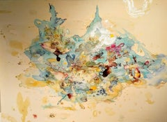 """""""Vessels,"""" Acrylic Paint, Resin, Ink and Watercolor on Canvas"""