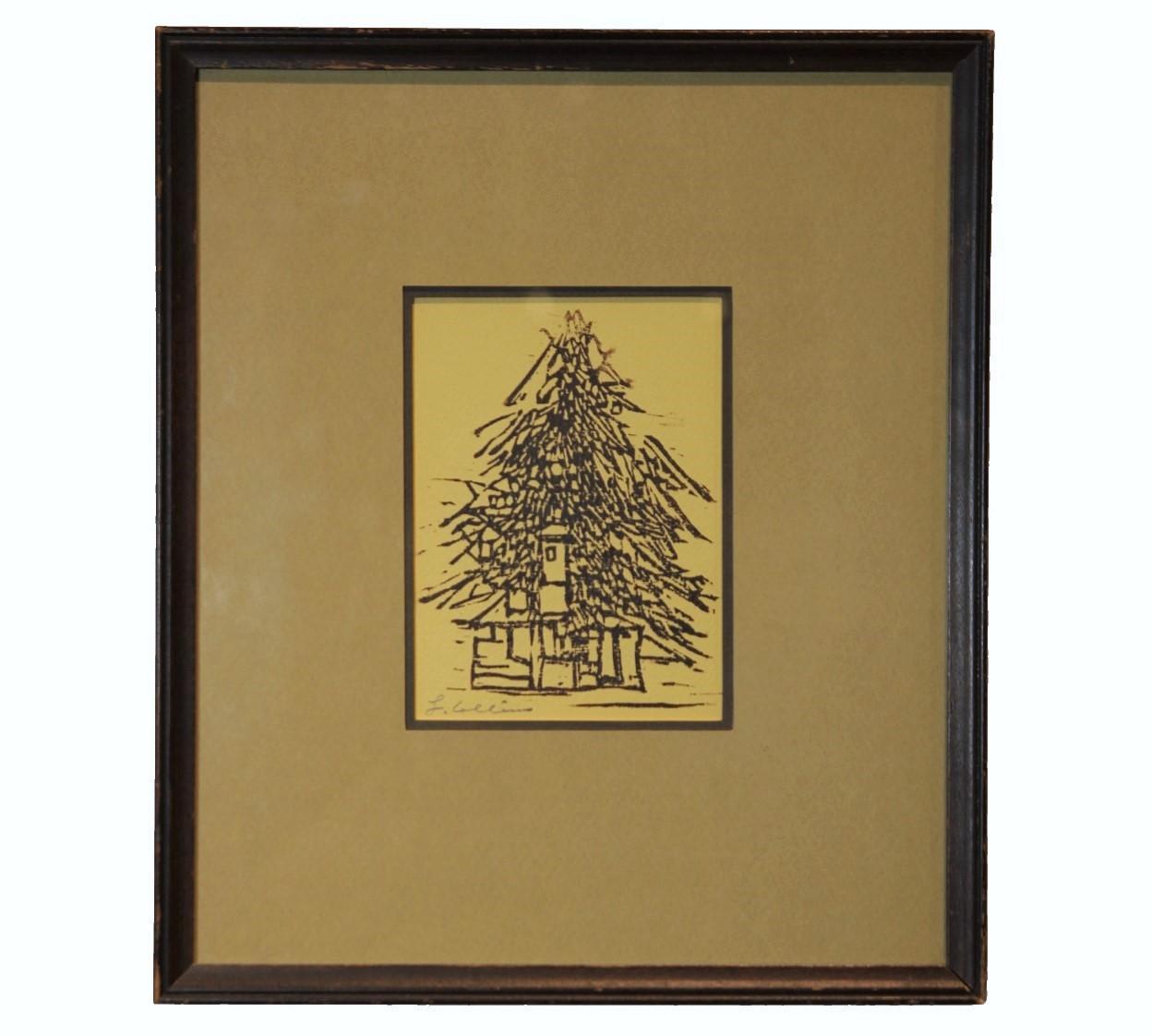 """Christmas Tree"" Woodblock Print"