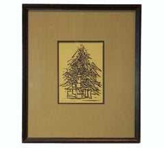 """Christmas Tree"" Woodblock Print"