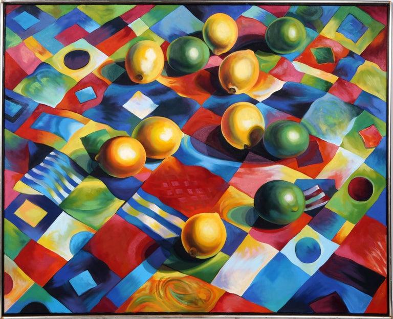Lowell Nesbitt Still-Life Painting - Lemons and Limes on Quilt