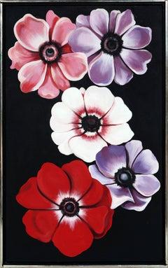 "Lowell Nesbitt, ""Five Anemones,"" Oil on Canvas, 1988"