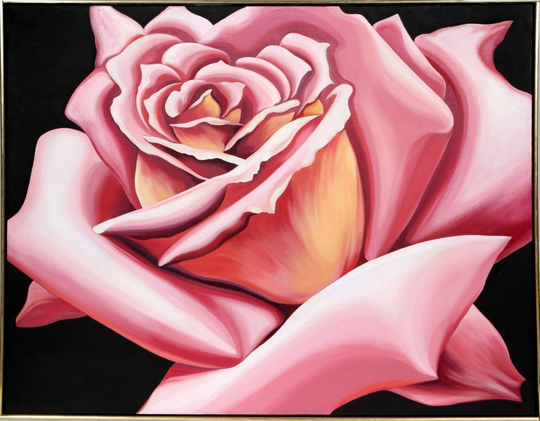 A beautiful realist painting of a rose by American Artist, Lowell Nesbitt who was great inspired by Georgia O'Keeffe.  Artist: Lowell Blair Nesbitt, American (1933 - 1993) Title: Pink Rose Year: 1976 Medium: Oil on Canvas, signed, titled and dated