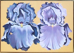 Two Violet Irises, Large Oil Painting by Lowell Nesbitt