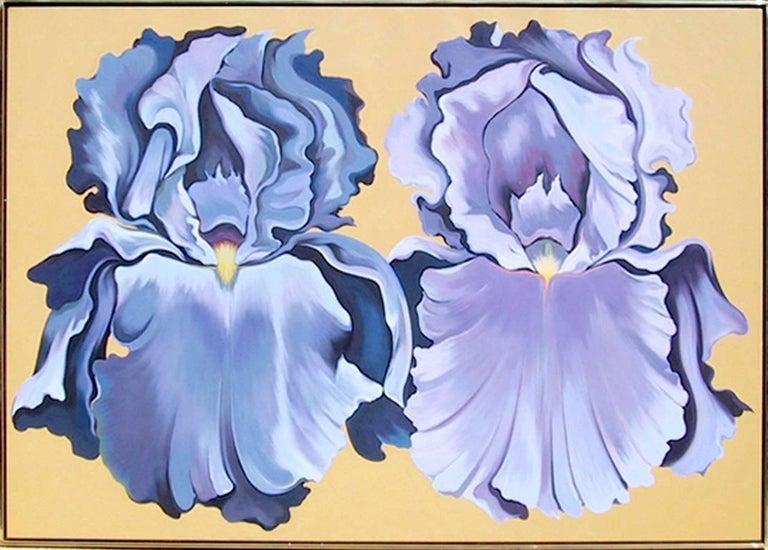 Two Violet Irises, Large Oil Painting by Lowell Nesbitt